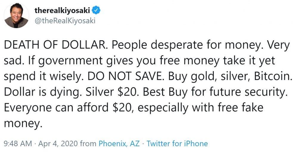 Rich Dad Poor Dad Author Robert Kiyosaki: Dollar Is Dying, Buy Bitcoin