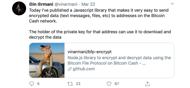 Cointext Cofounder Unveils BFP Encrypt - Send Encrypted Data to Bitcoin Cash Addresses