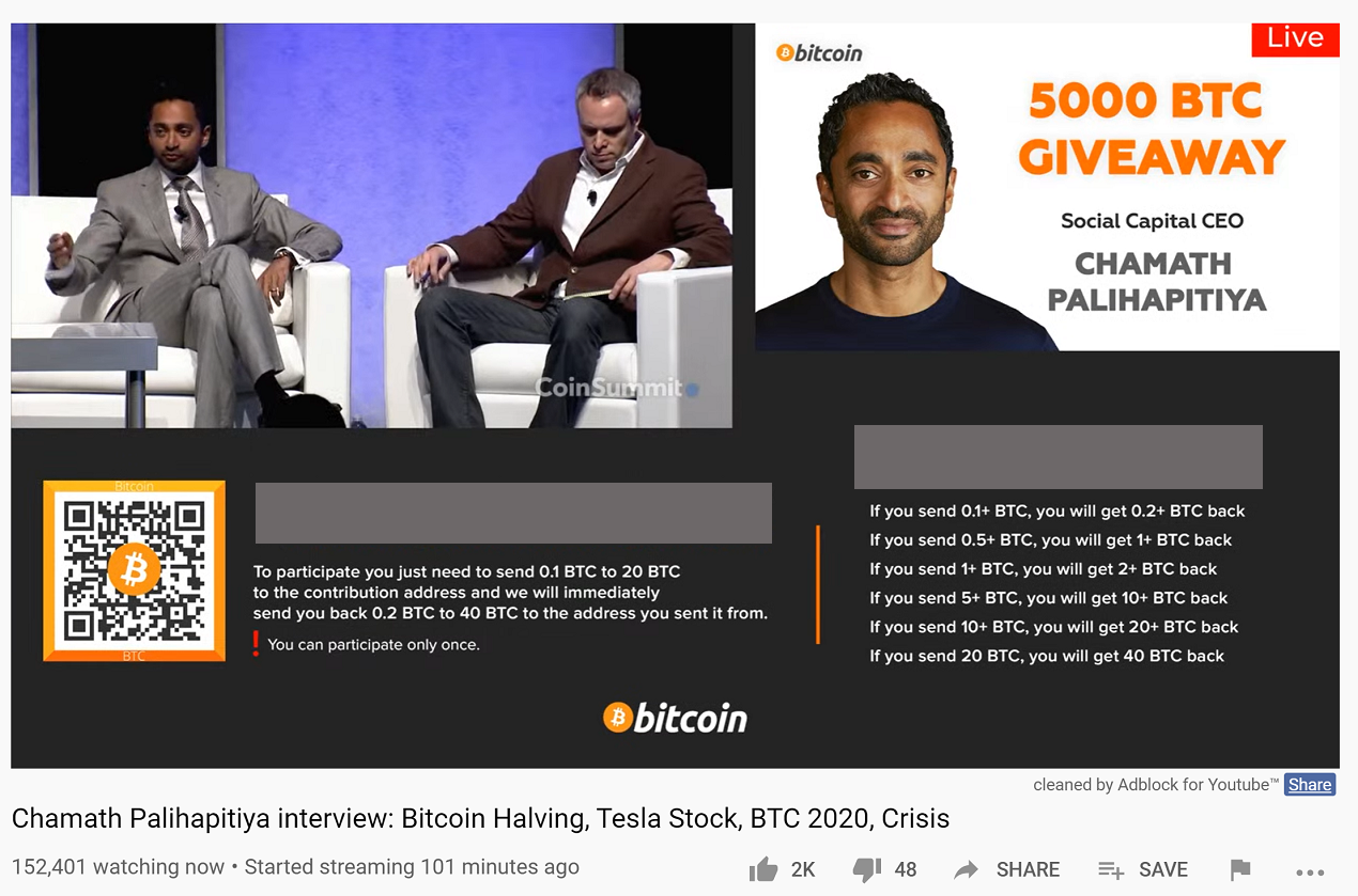 5000 BTC Giveaway Scam: Chamath Palihapitiya, Elon Musk Not Giving Away Bitcoin
