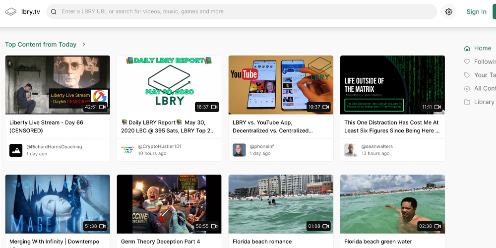 Amid Mass Censorship, Individuals Flock to Decentralized Video Sharing Apps Like Lbry.tv