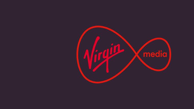 Virgin logo on purple background