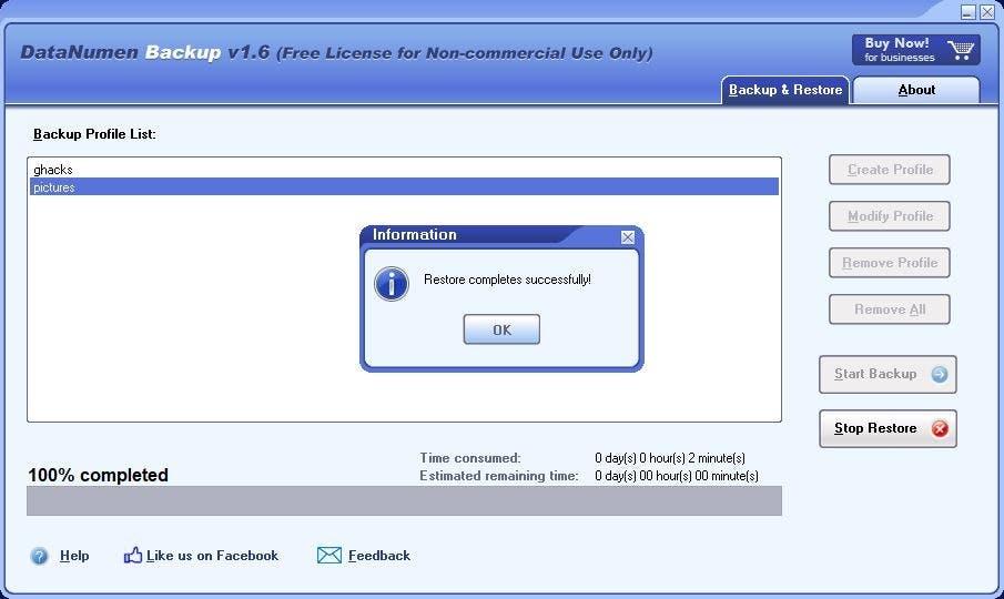 DataNumen Backup restore 4
