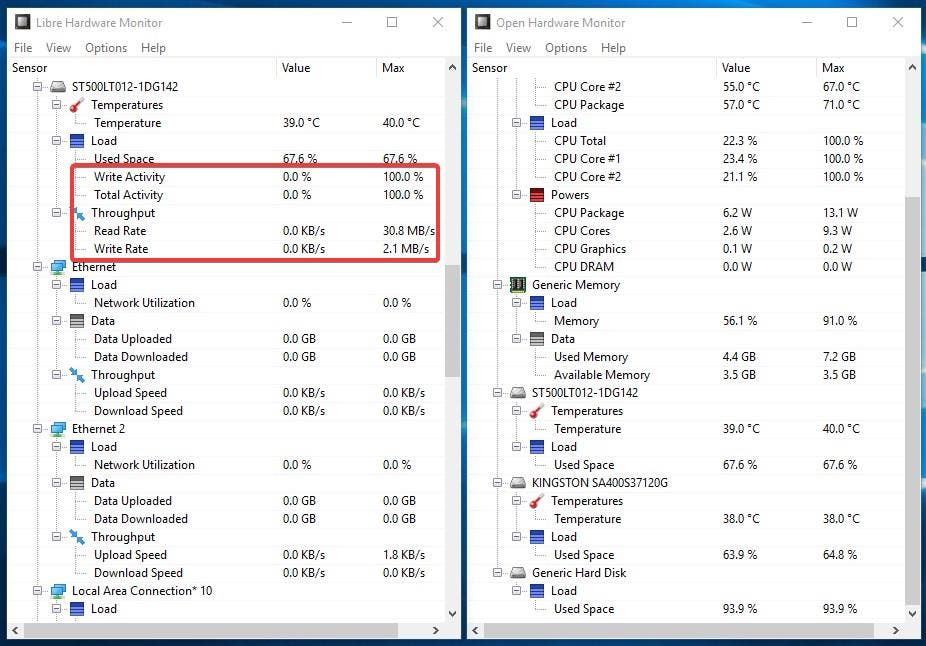 Libre Hardware Monitor vs Open Hardware Monitor hard drive