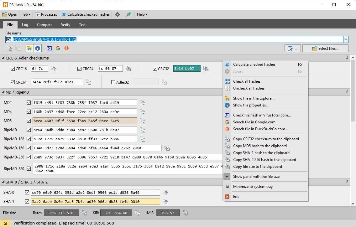 PS Hash File tab menu