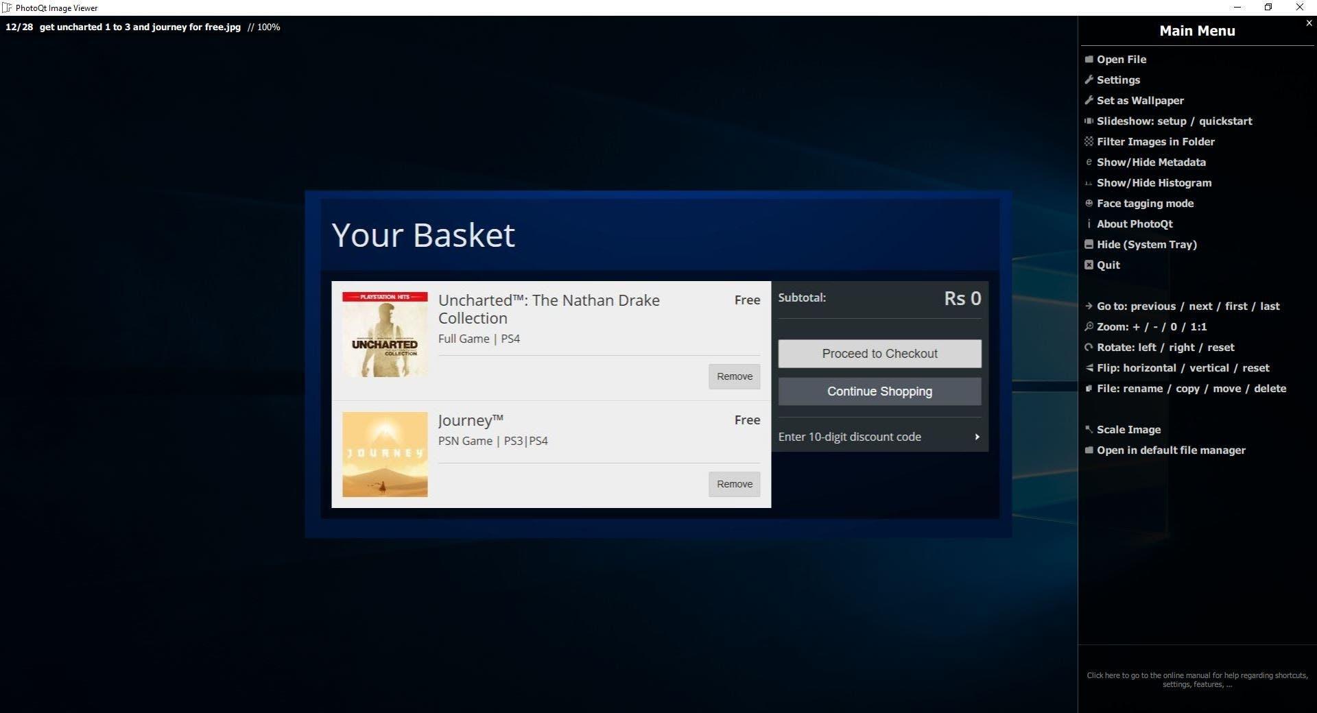 PhotoQt settings menu