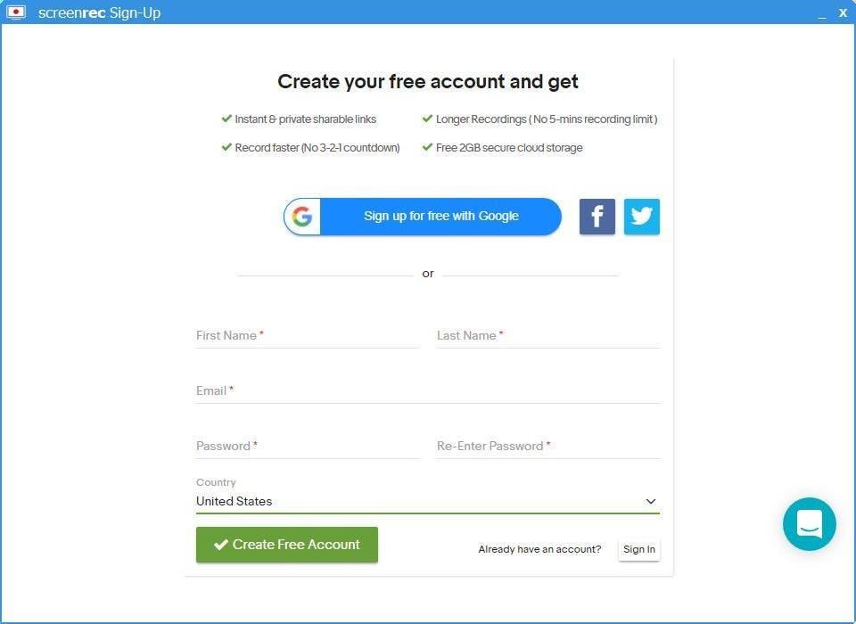 Screenrec registration