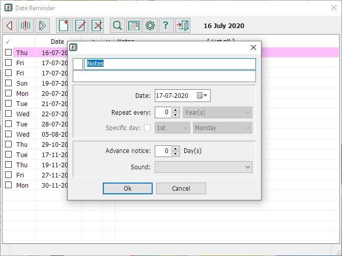create new alert Date Reminder