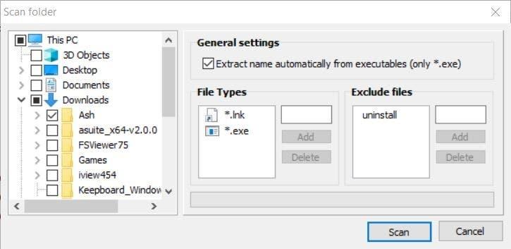 Asuite scan folder