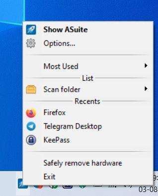 Asuite tray icon menu