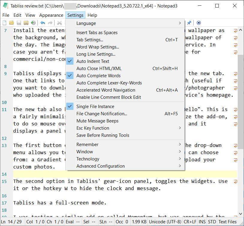 Notepad3 settings menu