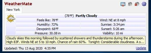 WeatherMate current conditions detailed