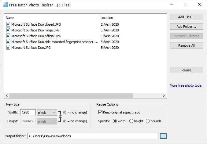 Free Batch Photo Resizer add files