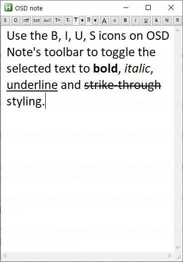 OSD Note rich text formatting