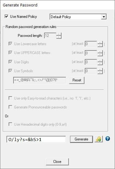 Password Safe Generate Password