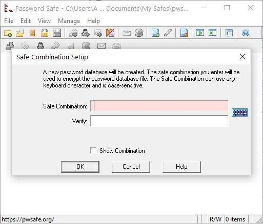 Password Safe create safe combination - set master password