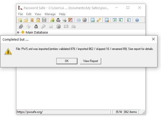 Password Safe import XML from KeePass 2