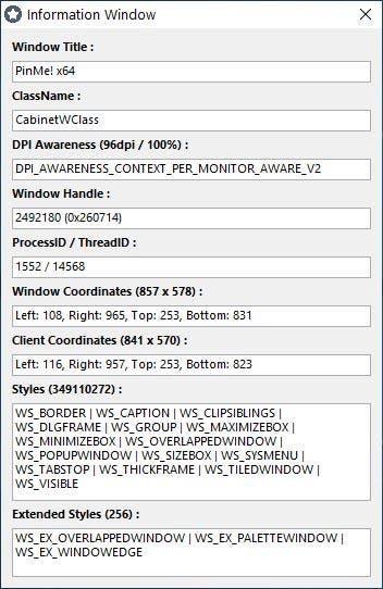 PinMe window information