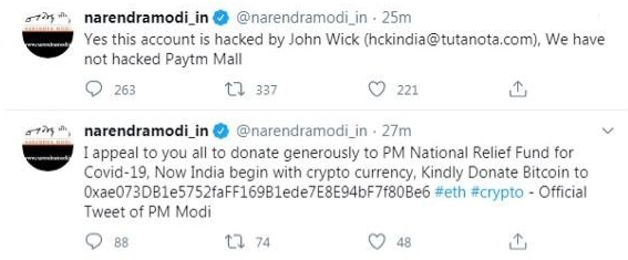 Indian Prime Minister Modi's Twitter Account Hacked, Bitcoin Donations Requested
