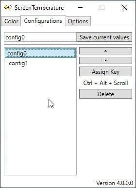 ScreenTemperature save config hotkey