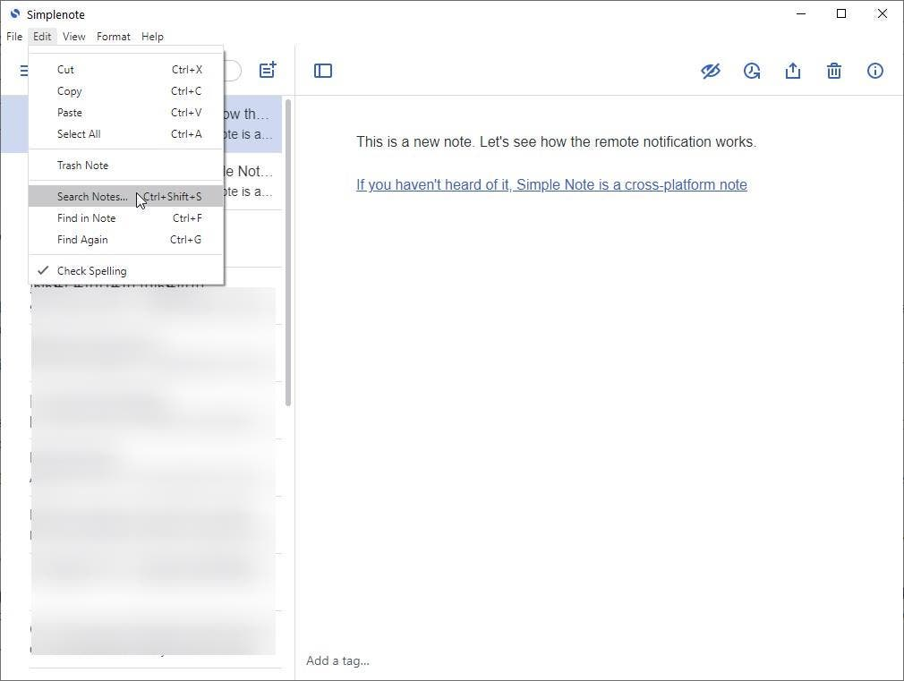 Simplenote 2.0 update edit menu