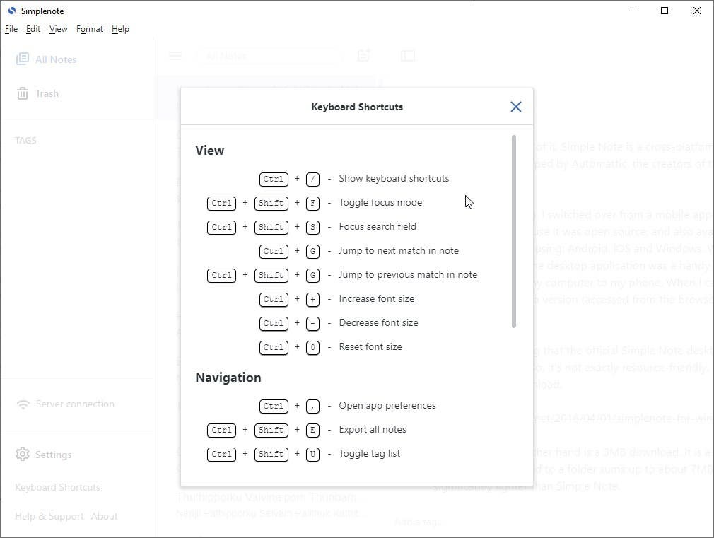 Simplenote 2.0 update keyboard shortcuts