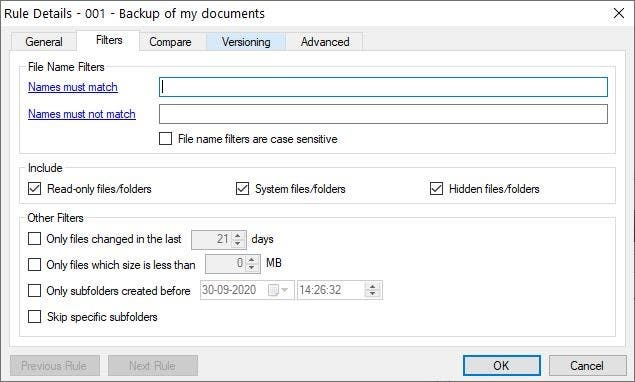 Sync Folders filters