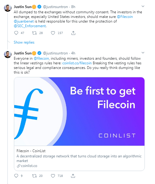 Filecoin Offering: Community Alleges Token Dumping, Tron's Justin Sun Wants the US SEC to Investigate