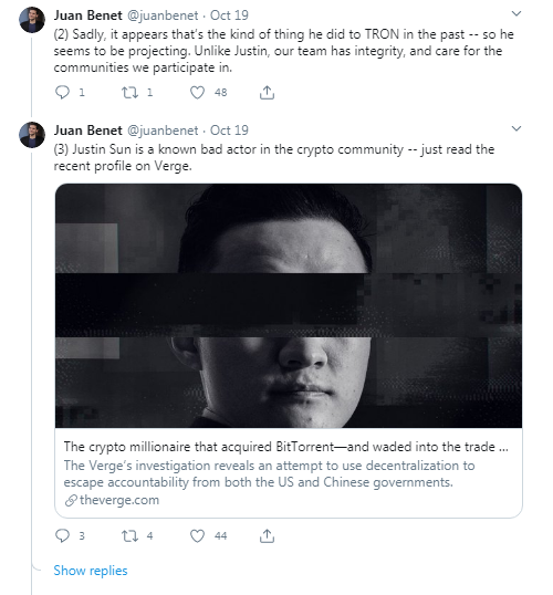 Filecoin Founder Accuses Justin Sun of Spreading Lies About FIL Tokens as Fresh Dumping Allegations Emerge