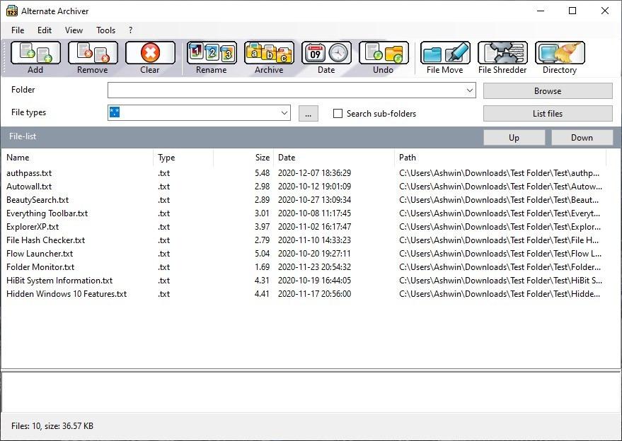 Alternate Archiver - add files