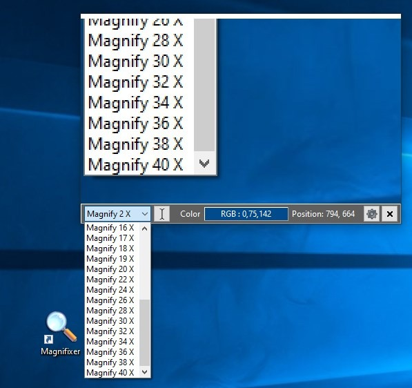 Magnifixer zoom levels