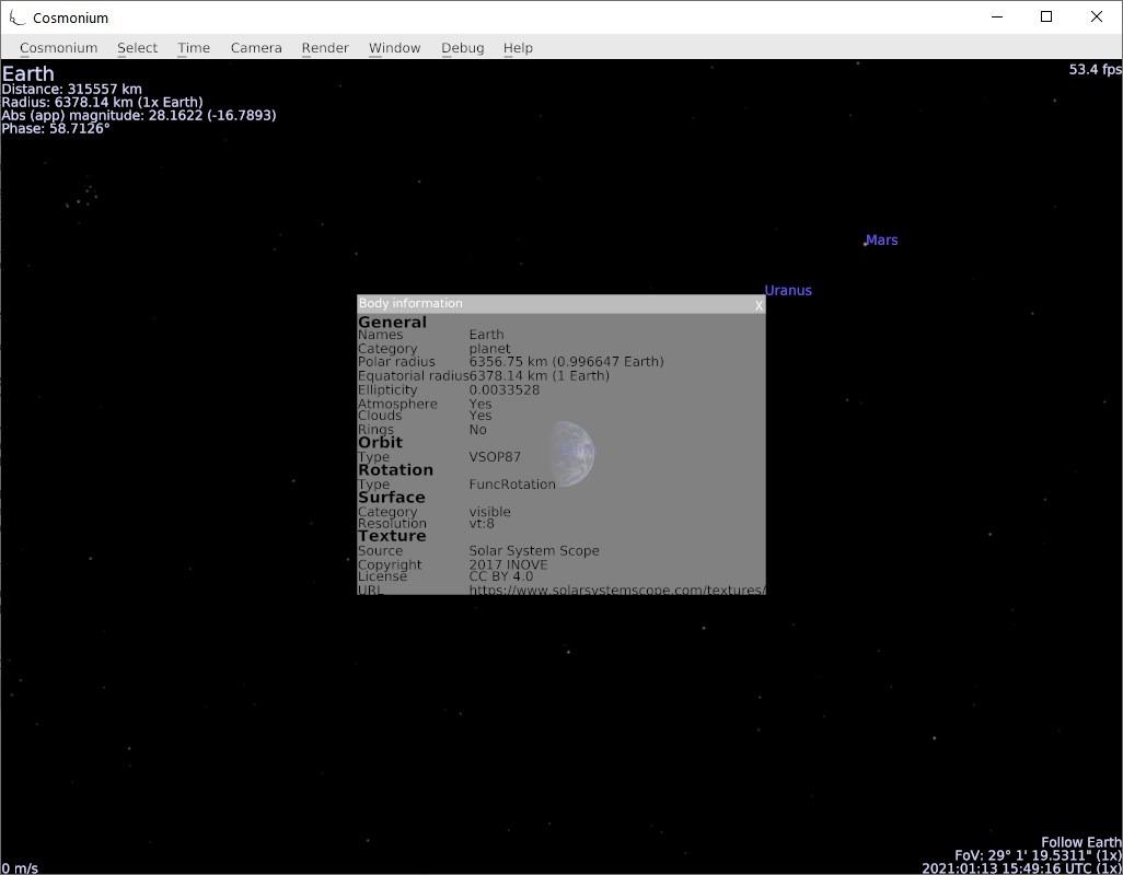 Cosmonium right-click menu