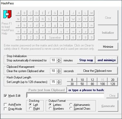 Hashpass interface
