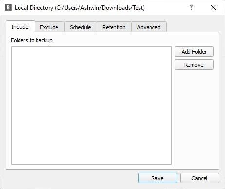 BlobBackup select folders