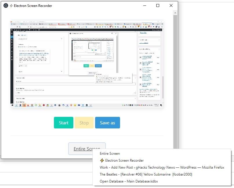 Electron Screen Recorder select source