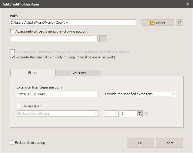Iperius Backup new task - add folders