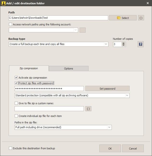 Iperius Backup new task - select destination