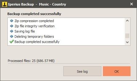 Iperius Backup new task - summary