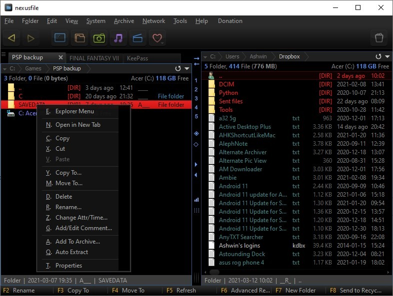 NexusFile file context menu