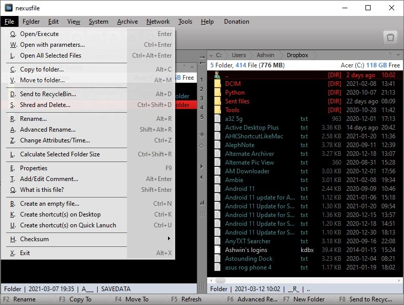 NexusFile file menu