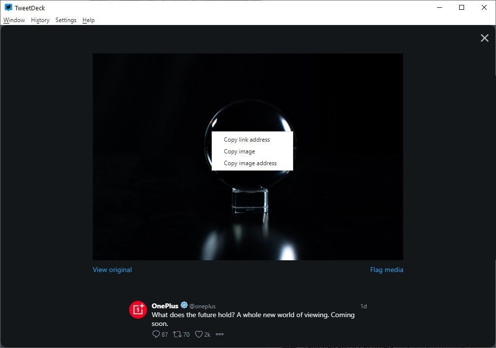 Atomic TweetDeck image context menu