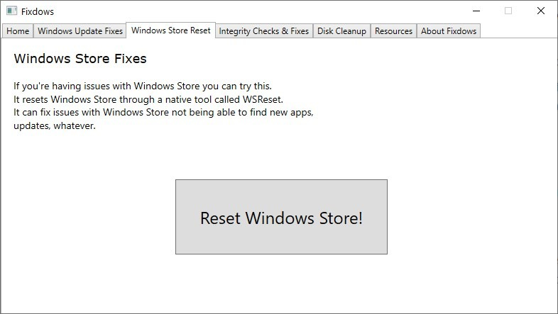 Fixdows Reset Windows Store