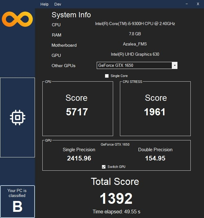 Infinity Bench is a free Windows app that benchmarks your computer's CPU and Graphics performance