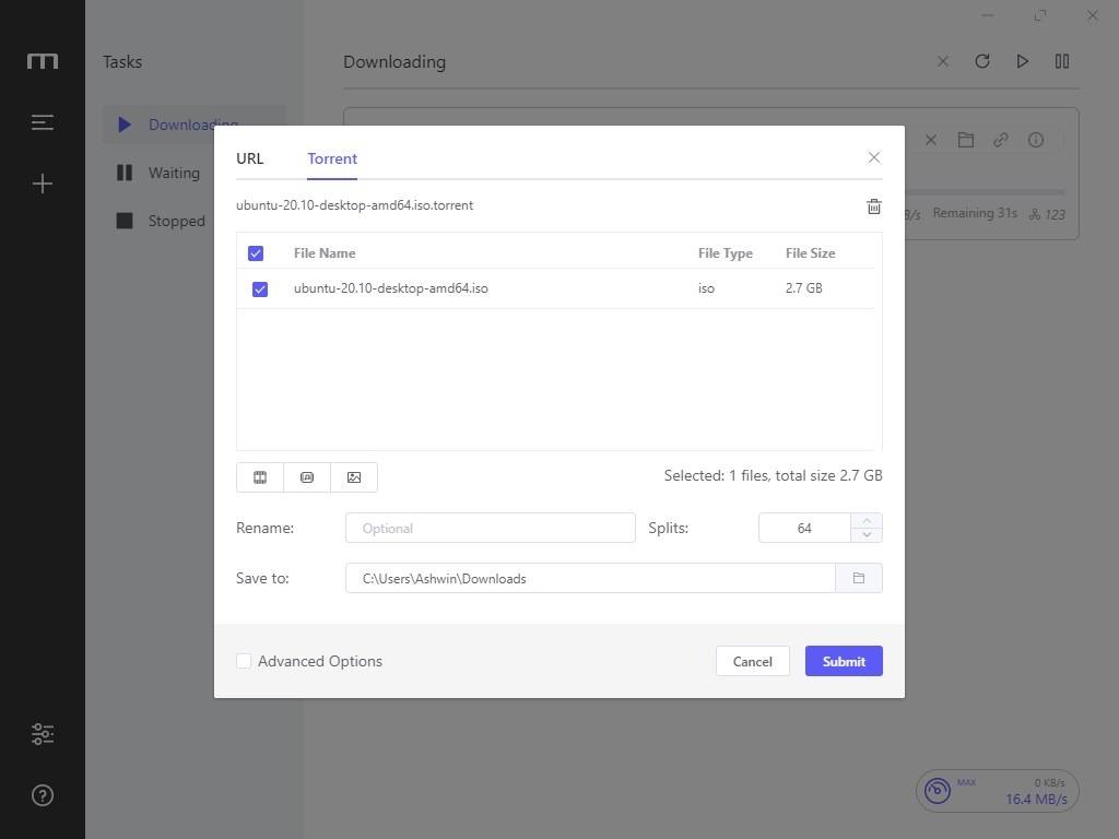 Motrix add a new torrent download