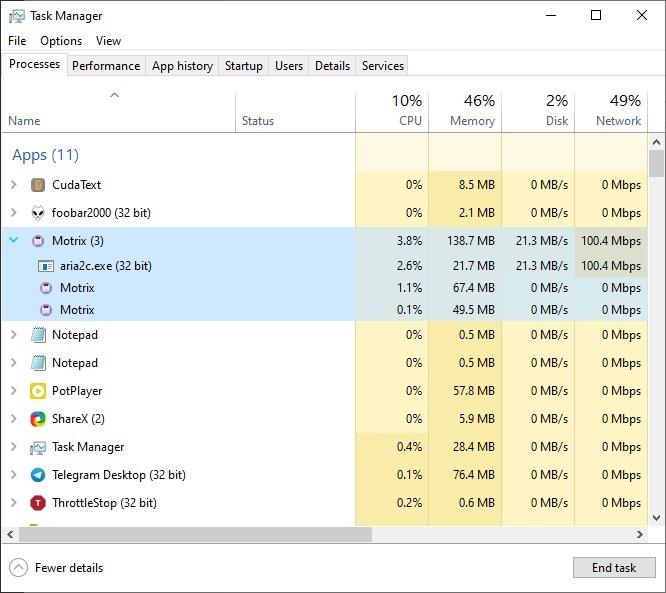 Motrix resource usage