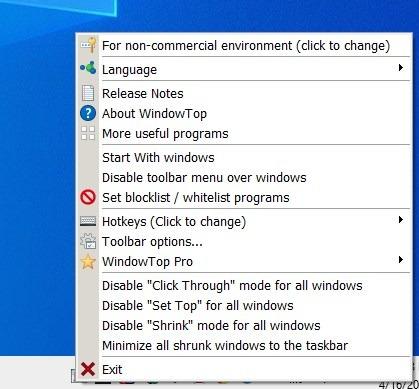 WindowTop old tray menu