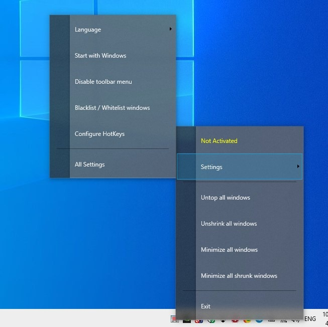 WindowTop tray menu